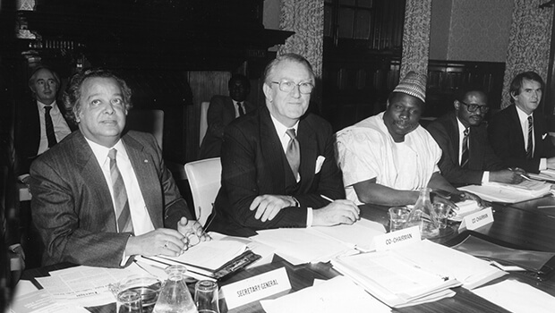Eminent Persons Meeting, Marlborough House, London 1986. At this meeting members agreed to initiate a programme of economic sanctions against the apartheid state. Left to right Commonwealth Secretary-General, Shridath Ramphal, The Rt Hon Malcolm Fraser (Australia), General Obasanjo (Nigeria), Chief Emeka Anyaoku (Deputy Secretary-General), Mr. Hugh Craft, Director, International Affairs Division.