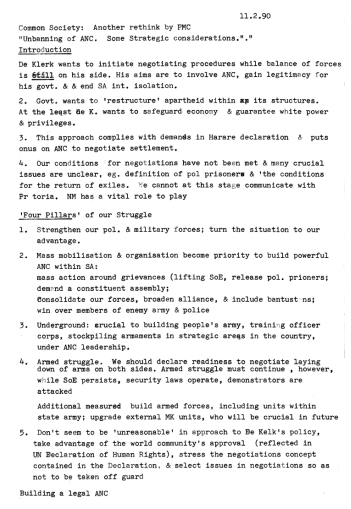 """Common Society: Another Rethink by PMC. """"Unbanning of ANC: Some Strategic Considerations."""" 1990."""