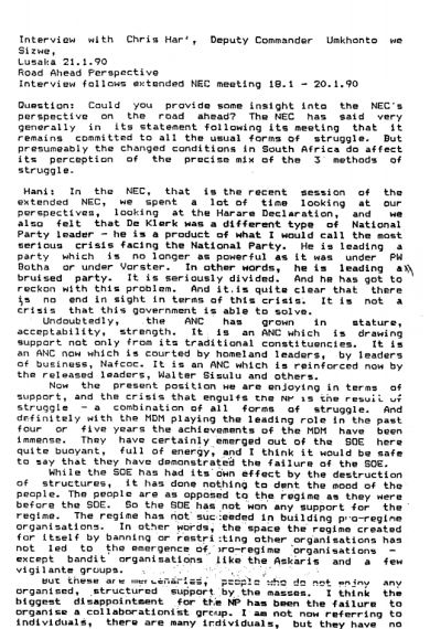 Transcript of an interview with Chris Hani on the post-1990 situation, following an extended NEC meeting held on 18 to 20 January 1990.