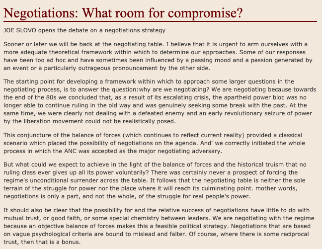 'Negotiations: What room for compromise?',