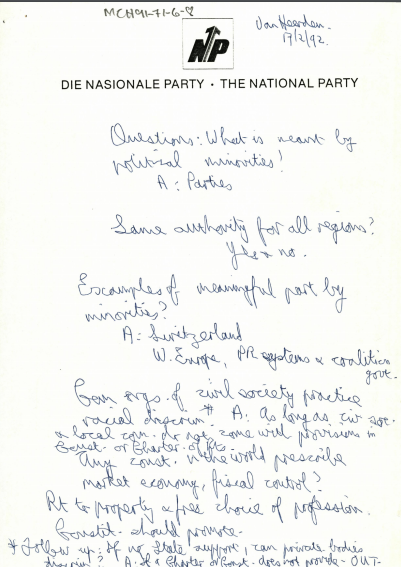 The National Party's constitutional proposal.