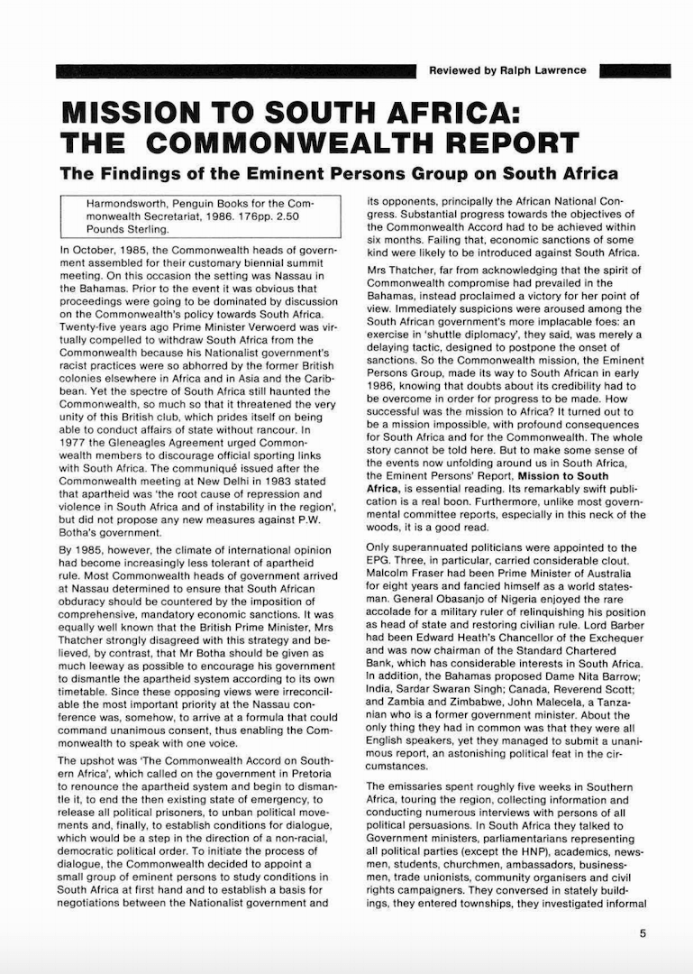 Mission to South Africa, The Commonwealth Report, Findings of the EPG on South Africa, 1986.