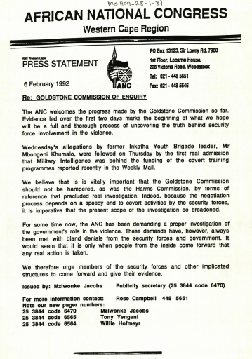 ANC press statement commending the work of the Goldstone Commission, and encouraging implicated members of the SADF to give evidence, 1991.