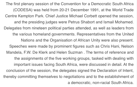 Transcript of the first plenary session of CODESA, 20-21 December 1991.