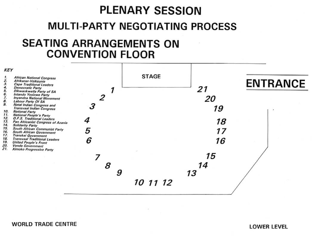 A diagram showing the seating arrangements for the MPNP.