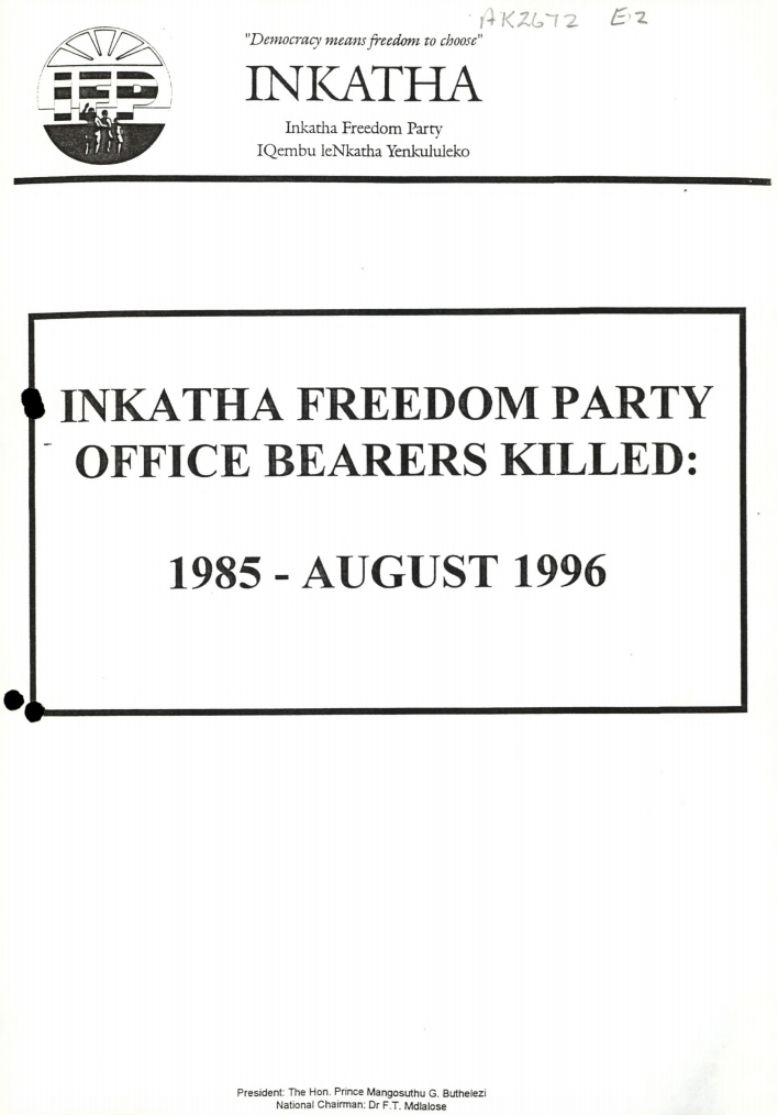 A document from the Goldstone Commission describes violence against members of the IFP, 1985-1996.
