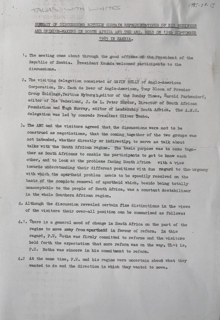 Summary of discussion between the ANC and representatives of big business, Zambia 1985.