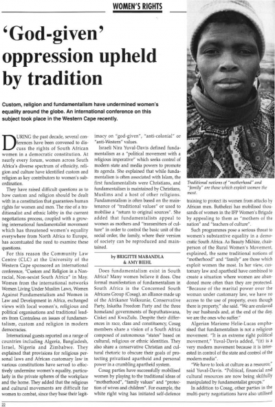 'God-given' oppression upheld by tradition by Brigitte Mabandla and Amy Biehl.