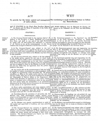 Front page of Black Administration Act No 38 of 1927.