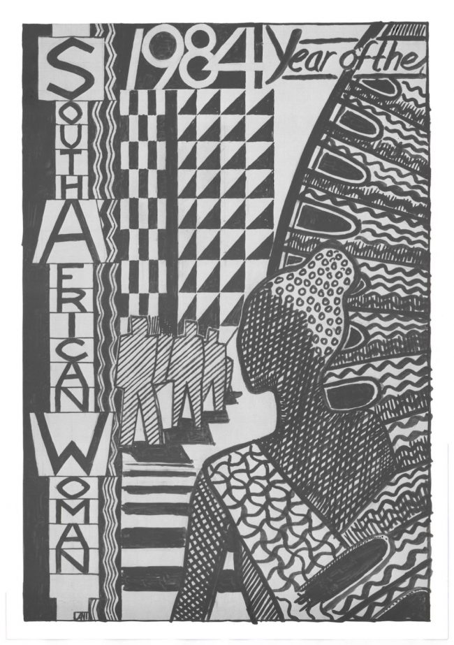 Grey and black poster with geometric artwork of a woman for 1984 - Year of the South African Woman.