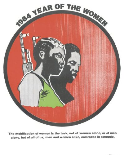 """Circle in the centre with artwork of a man and a woman carrying rifles on their shoulders with caption reading """"Mobilisation of women in the struggle""""."""