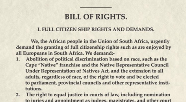 ANC Bill of Rights, 1943.