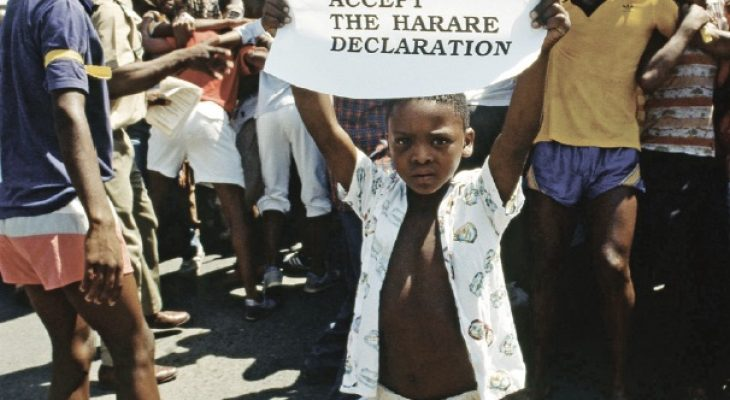 A call by the people for FW de Klerk to accept the Harare Declaration.