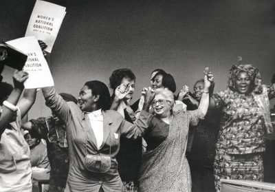 Celebrating the formation of the Women's National Coalition at the University of the Witwatersrand, Johannesburg, 1991.