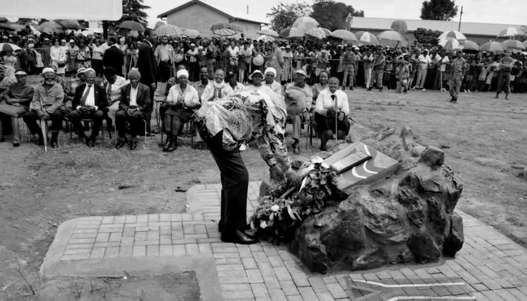 President Mandela laying a wreath at the monument to the victims of the Sharpeville Massacre.