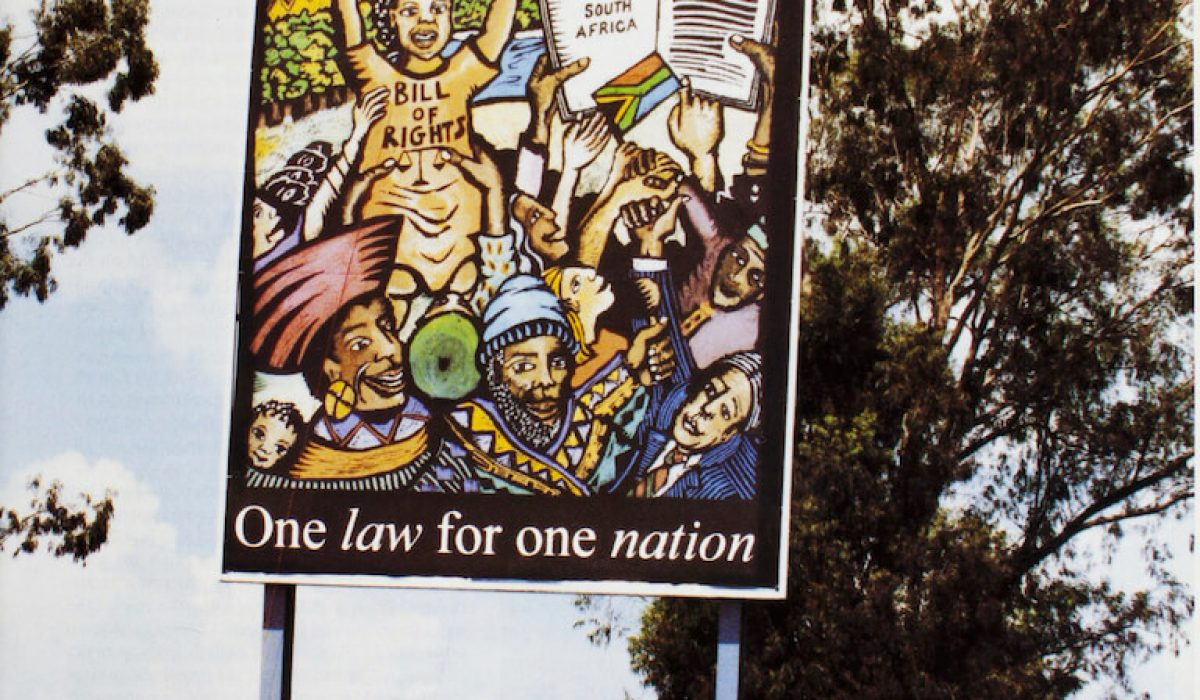 Billboard in Sharpeville when the Constitution was signed into law.