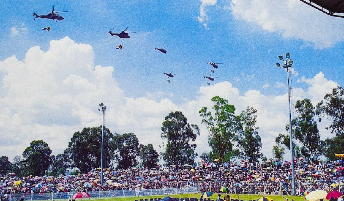 Helicopters of the South African Air Force fly over Sharpeville as President Mandela prepares to sign the Constitution.